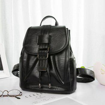 Women's Backpack Solid Color All-match Large Capacity Faddish Bag - BLACK HORIZONTAL
