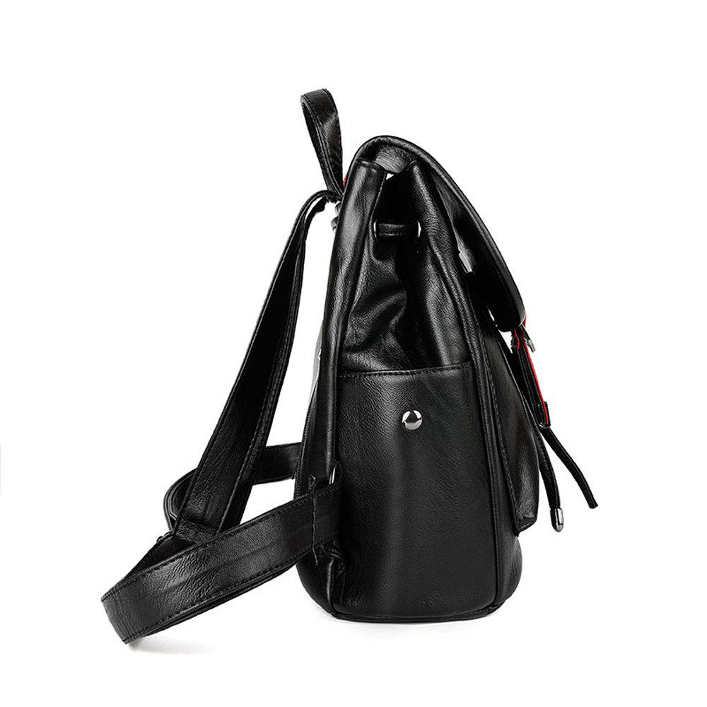 Women's Backpack Solid Color All-match Large Capacity Faddish Bag - RED/WHITE HORIZONTAL