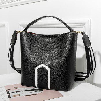 Women's Handbag Solid Color Roomy Bag - BLACK HORIZONTAL