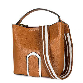 Women's Handbag Solid Color Roomy Bag - BROWN HORIZONTAL