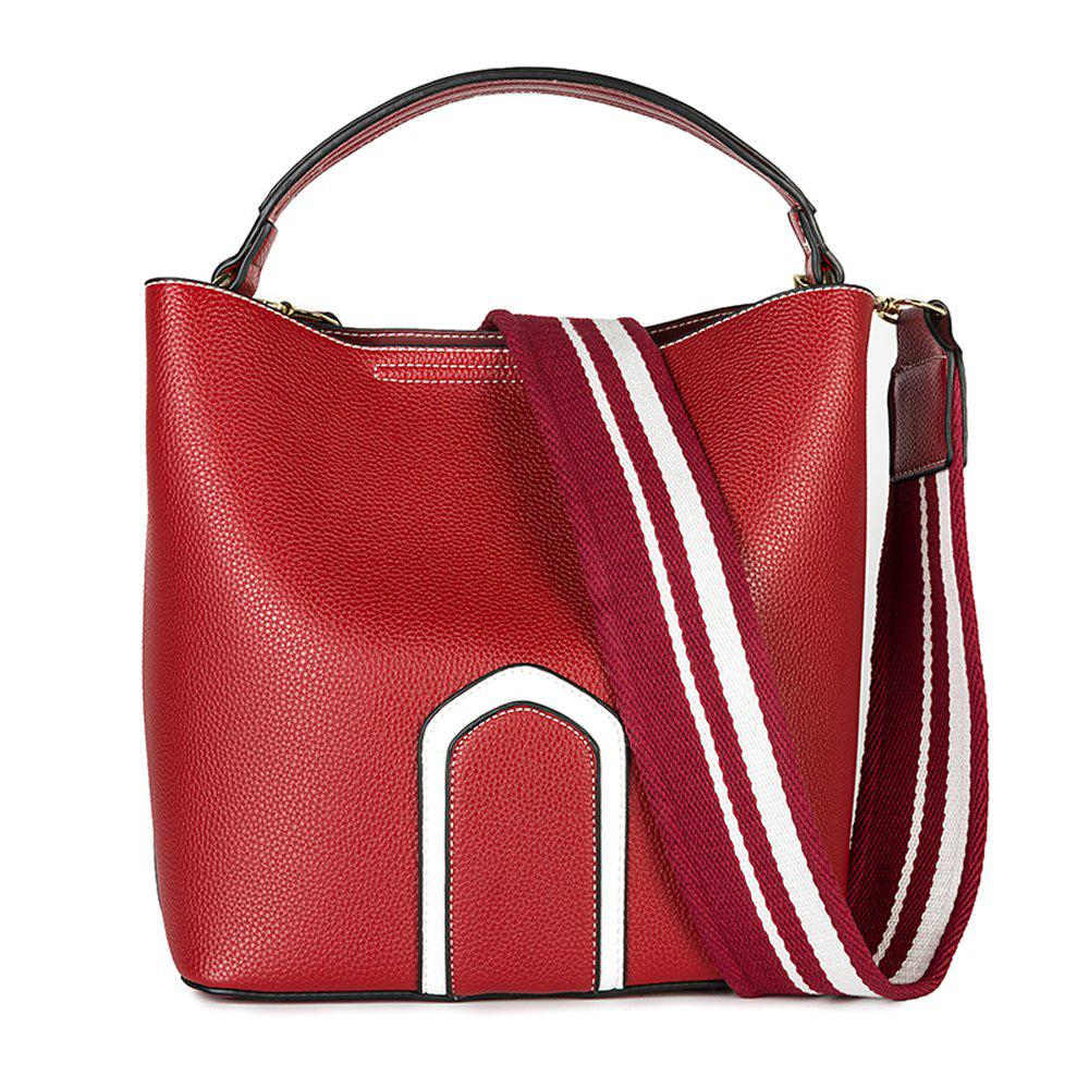 Women's Handbag Solid Color Roomy Bag - RED HORIZONTAL