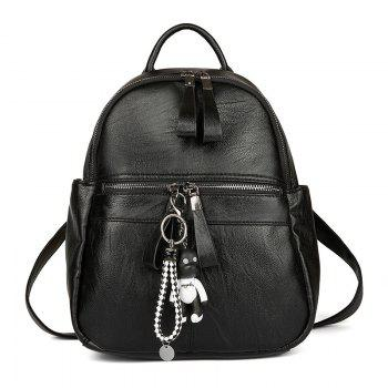 Women's Backpack Solid Color Brief Style Stylish Bag - BLACK BLACK