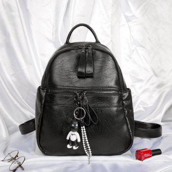 Women's Backpack Solid Color Brief Style Stylish Bag - BLACK HORIZONTAL