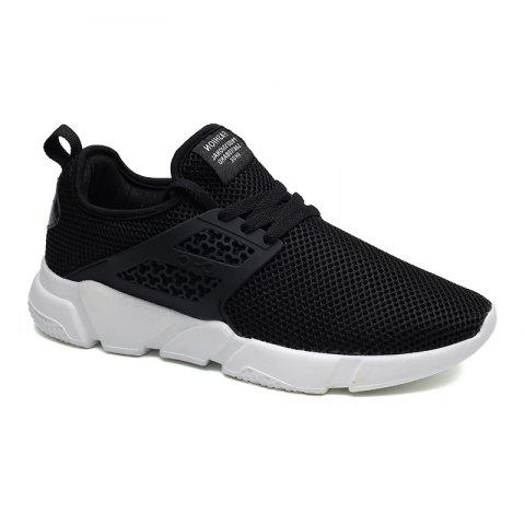Solid Breathable Lace Up Leisure Shoes - BLACK 44