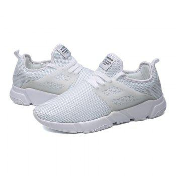 Solid Breathable Lace Up Leisure Shoes - WHITE 40