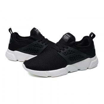 Solid Breathable Lace Up Leisure Shoes - BLACK 42