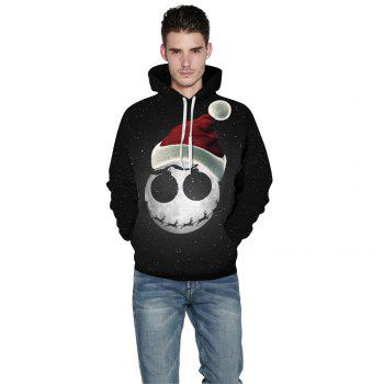 Starry Sky Printed Christmas Long Sleeve Lover Hoodie - BLACK XL