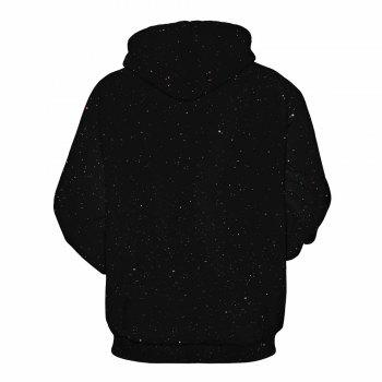 Starry Sky Printed Christmas Long Sleeve Lover Hoodie - BLACK BLACK