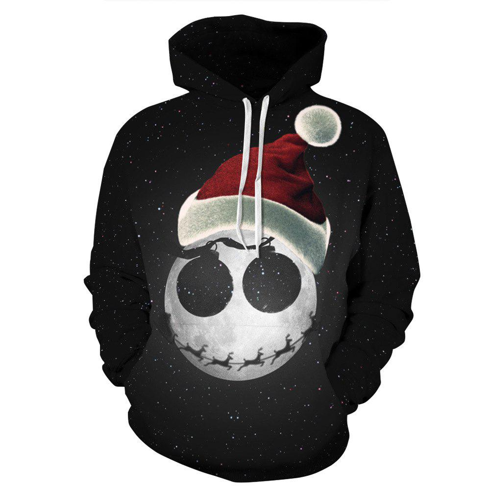 Starry Sky Printed Christmas Long Sleeve Lover Hoodie - BLACK L