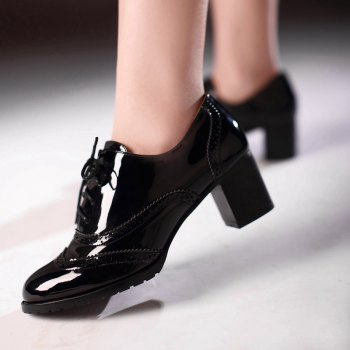 Women Round Toe Chunky Heel Patent Leather Oxfords Shoes - BLACK 42