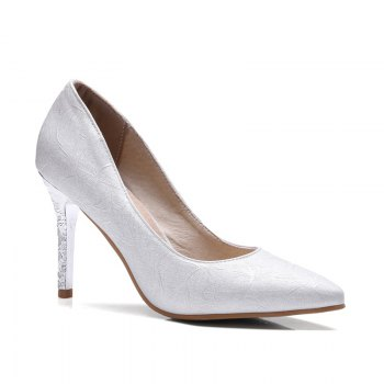 Women's Shoes Leatherette All Season Comfort Heels Pointed Toe Wedding Pumps - SILVER SILVER