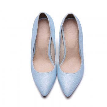 Women's Shoes Leatherette All Season Comfort Heels Pointed Toe Wedding Pumps - LIGHT BULE LIGHT BULE
