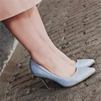 Women's Shoes Leatherette All Season Comfort Heels Pointed Toe Wedding Pumps - LIGHT BULE 41