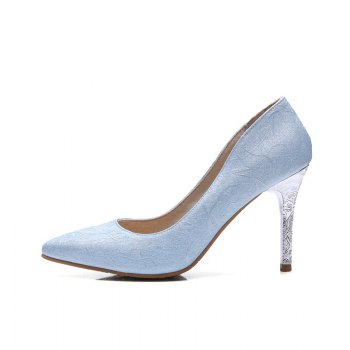 Women's Shoes Leatherette All Season Comfort Heels Pointed Toe Wedding Pumps - LIGHT BULE 42