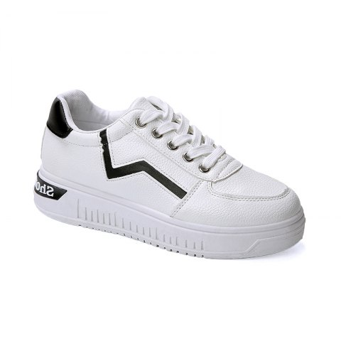 Student Flat Strappy Low Recreational All-match Sports Shoes - WHITE 38