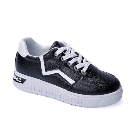 Student Flat Strappy Low Recreational All-match Sports Shoes - BLACK 37