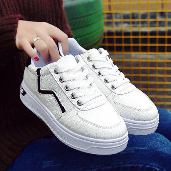 Student Flat Strappy Low Recreational All-match Sports Shoes - WHITE 37