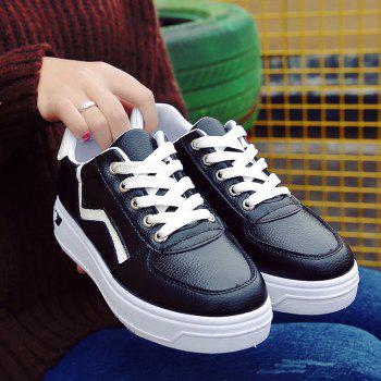 Student Flat Strappy Low Recreational All-match Sports Shoes - BLACK 38