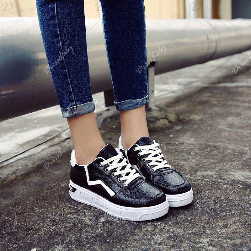 Student Flat Strappy Low Recreational All-match Sports Shoes - BLACK 36