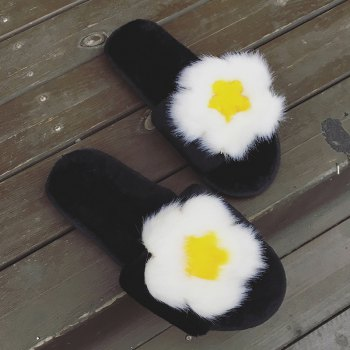 Female Home Cartoon Slippers - BLACK C SIZE(38-39)