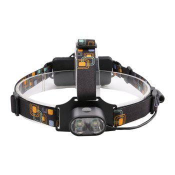 HKV 2LEDs XMLT6 6000 - 6500K USB Rechargeable Outdoor Waterproof Headlight for Camping -  GRAY
