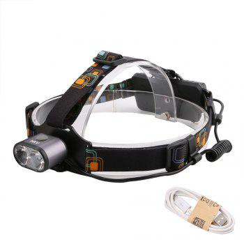 HKV 2LEDs XMLT6 6000 - 6500K USB Rechargeable Outdoor Waterproof Headlight for Camping - GRAY GRAY