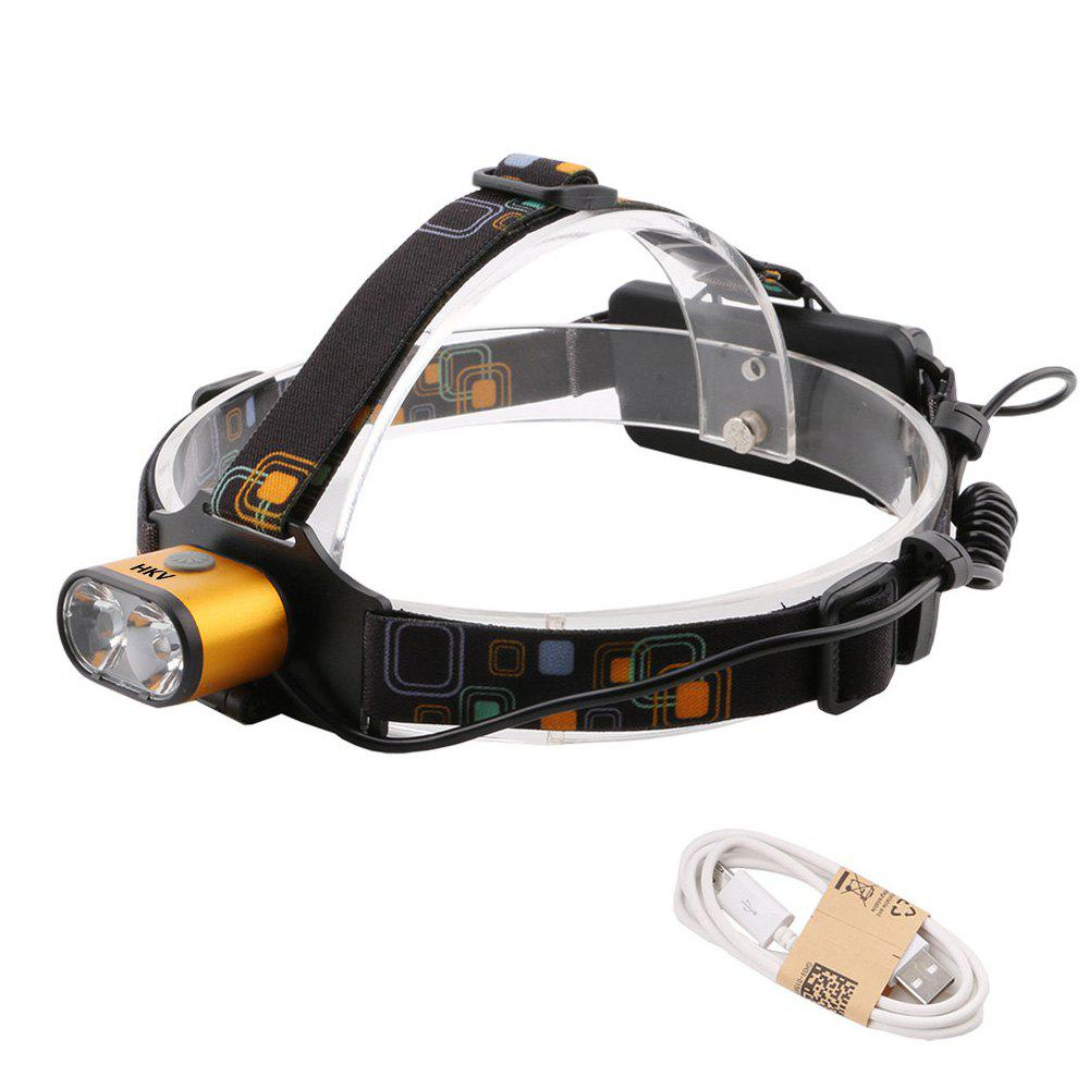 HKV 2LEDs XMLT6 6000 - 6500K USB Rechargeable Outdoor Waterproof Headlight for Camping - GOLDEN