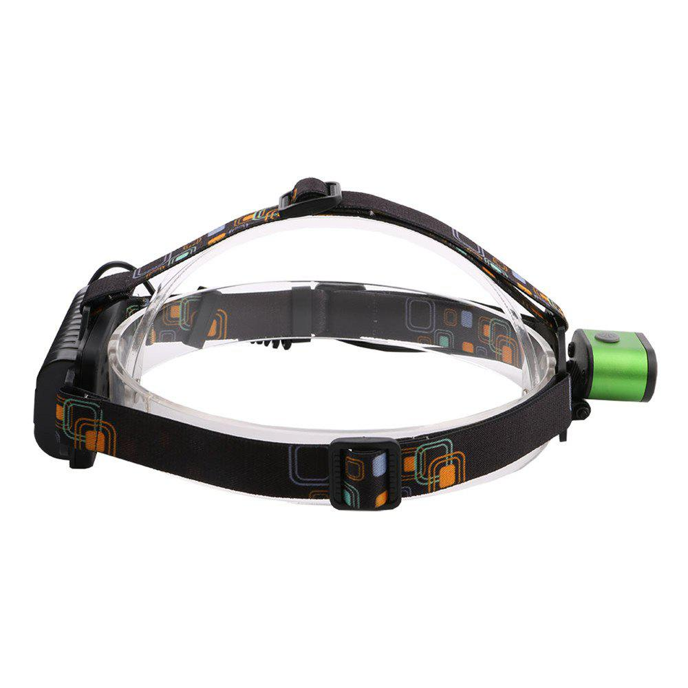 HKV 2LEDs XMLT6 6000 - 6500K USB Rechargeable Outdoor Waterproof Headlight for Camping - GREEN