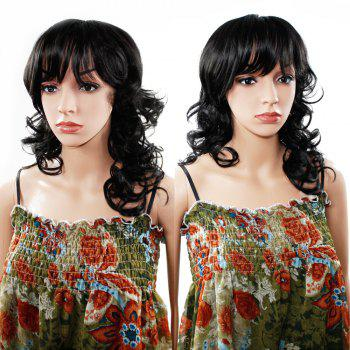 Women Long Wavy Curly Wave Full Hair Wig for Cosplay Party Costume - BLACK 14INCH
