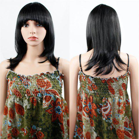 Human Hair Wig Womens Straight with Flat Bangs Synthetic Colorful Cosplay Daily Party for Women Natural Black 14 inch - BLACK 14INCH