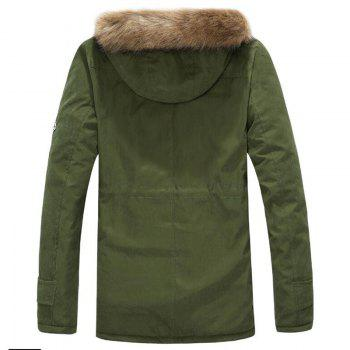 Men's Fleece Long Parka Coat Cotton Pure Long Sleeve Coat - ARMYGREEN S