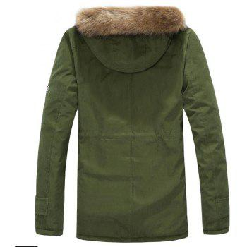 Men's Fleece Long Parka Coat Cotton Pure Long Sleeve Coat - ARMYGREEN XL