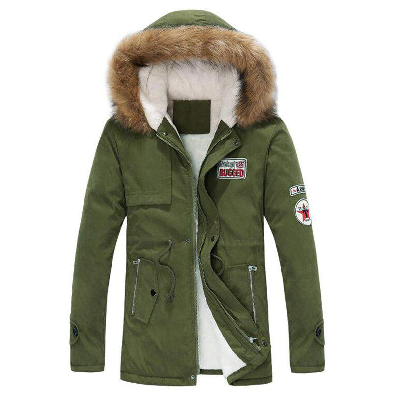 Men's Fleece Long Parka Coat Cotton Pure Long Sleeve Coat - ARMYGREEN M