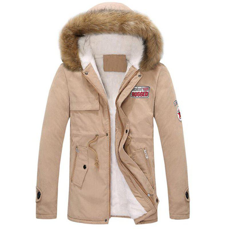 Men's Fleece Long Parka Coat Cotton Pure Long Sleeve Coat - KHAKI M