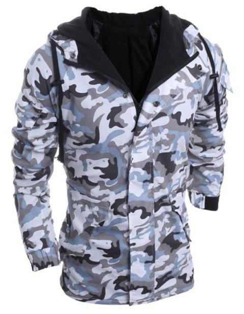 Men's Fashion Casual Camouflage Hooded Coat - GRAY 2XL