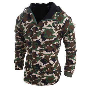Men's Fashion Casual Camouflage Hooded Coat - ARMYGREEN M