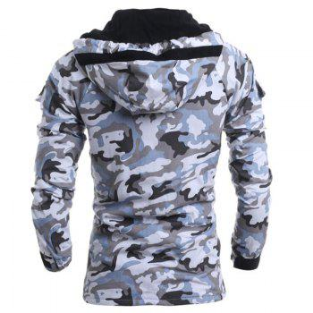 Men's Fashion Casual Camouflage Hooded Coat - GRAY GRAY