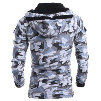 Men's Fashion Casual Camouflage Hooded Coat - GRAY L