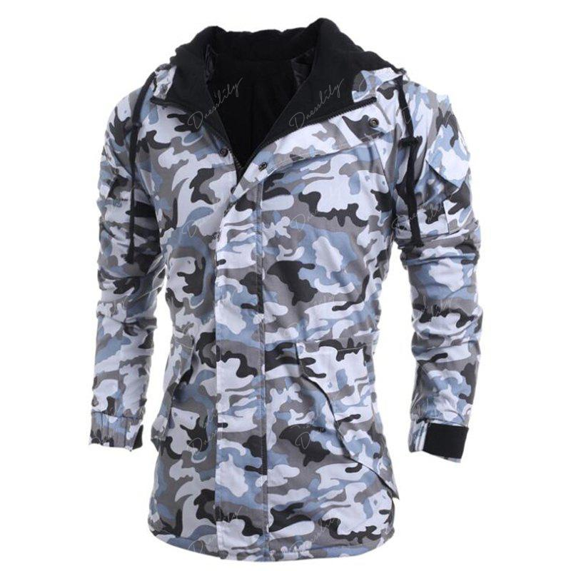 Men's Fashion Casual Camouflage Hooded Coat - GRAY XL