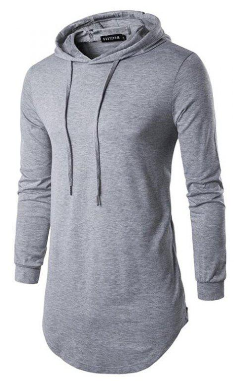 Men's Sports Casual Hoodie Solid  Long Sleeve - GRAY S