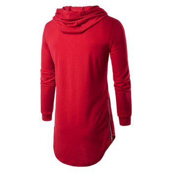 Men's Sports Casual Hoodie Solid  Long Sleeve - RED XL