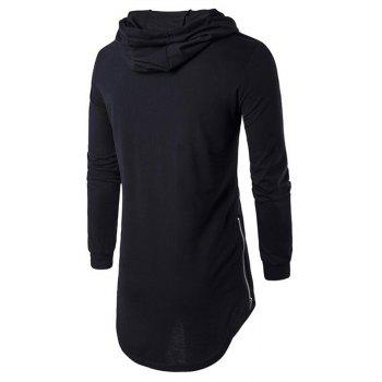 Men's Sports Casual Hoodie Solid  Long Sleeve - BLACK L
