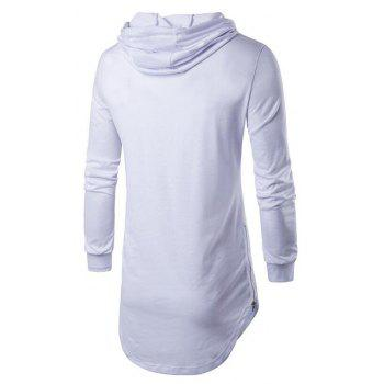 Men's Sports Casual Hoodie Solid  Long Sleeve - WHITE WHITE