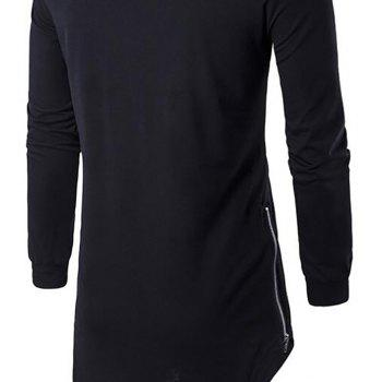 Men's Sports Casual Hoodie Solid  Long Sleeve - BLACK S
