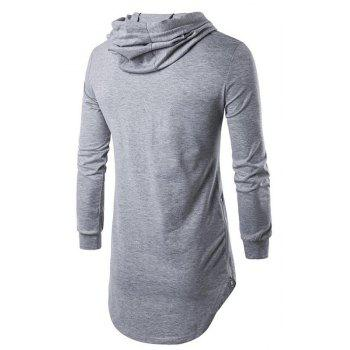 Men's Sports Casual Hoodie Solid  Long Sleeve - GRAY L