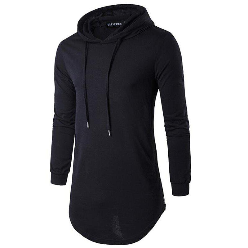 Men's Sports Casual Hoodie Solid  Long Sleeve - BLACK XL