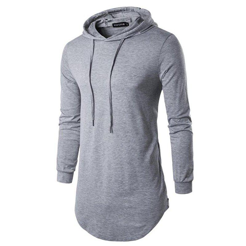 Men's Sports Casual Hoodie Solid  Long Sleeve - GRAY M