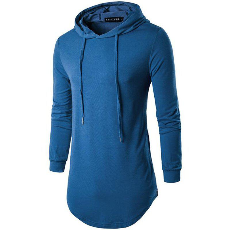 Men's Sports Casual Hoodie Solid  Long Sleeve - BLUE M