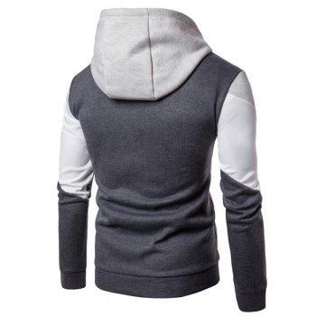 Men's Casual Hoodie Fleece Splicing Fabric - GRAY GRAY
