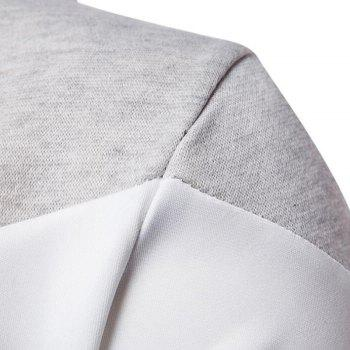 Men's Casual Hoodie Fleece Splicing Fabric - GRAY L